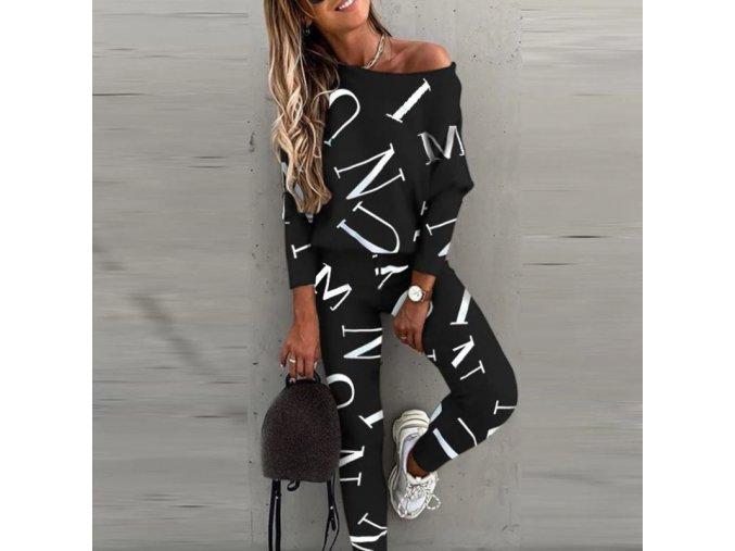 dámske oblečenie - tepláková súprava - čierna tepláková súprava s písmenami - dámske tepláky - mikiny - dámske mikiny