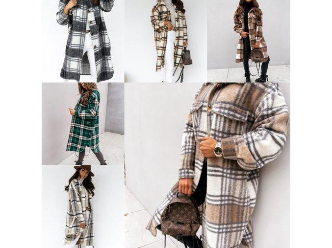 Oblečenie - kabát - dámsky módny dlhý kockovaný kabát ideálne na jeseň - dámsky kabát