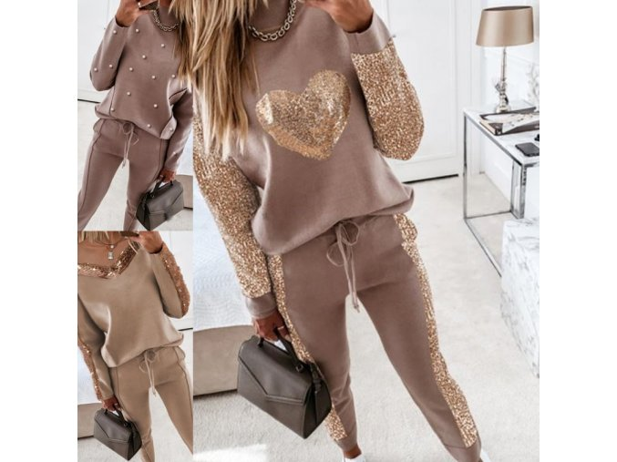 Dámske oblečenie - tepláková súprava - dámska módna tepláková súprava v béžovej farbe v troch variantoch - dámska tepláková súprava