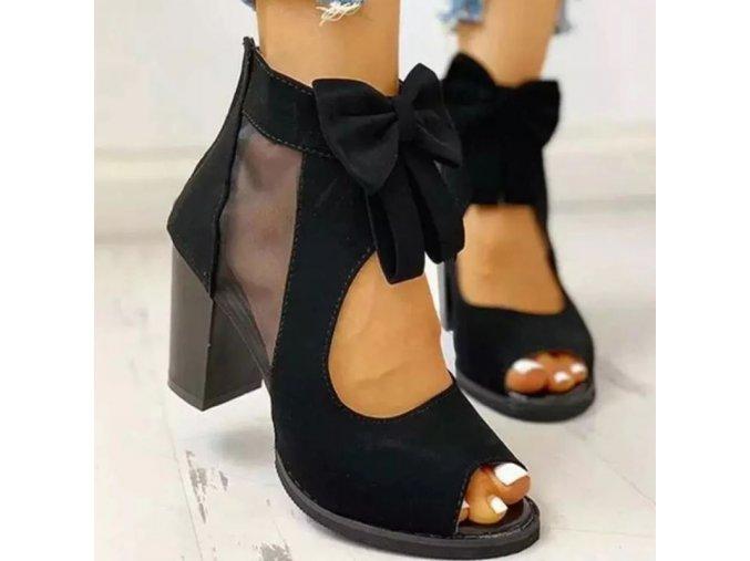 Topánky - dámske topánky - dámske topánky na širokom podpätku s mašľou - dámske sandále - zľavy dnes