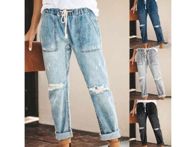 Dámske oblečenie - dámske nohavice - dámske trhané boyfriend nohavice na zaväzovanie - dámske džínsy