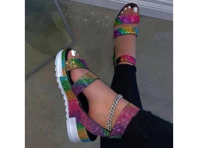 Topánky - dámske topánky - šľapky - dámske letné páskové šľapky na platforme zdobené kamienkami v dvoch farbách - dámske šľapky