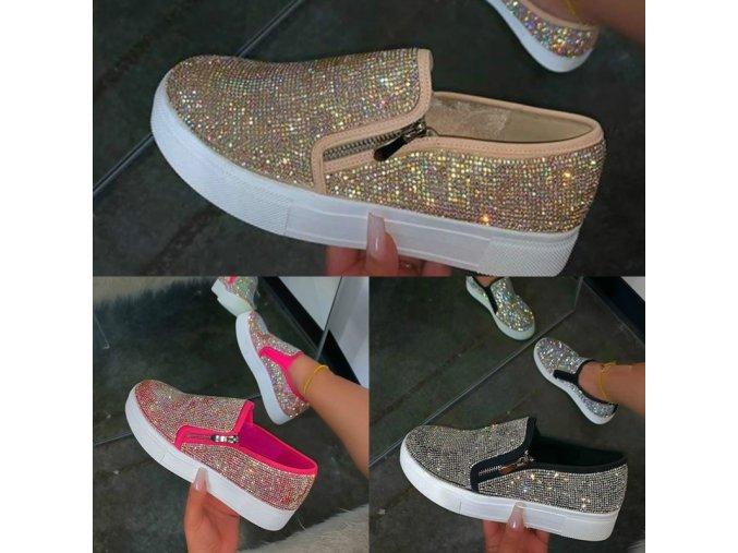 Topánky - dámske topánky - espadrilky - dámske espadrilky na platforměse zipsom zdobené kamienkami - nájdi zľavy - darček pre ženu