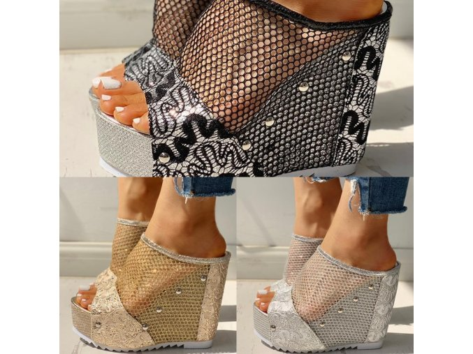 Topánky - dámske topánky - dámske sandále - dámske sandále na vysokom podpätku s krásnym zdobením - výpredaj skladu