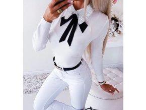 Dámske biele elegantné tričko s golierom a mašličkou (Velikost L)