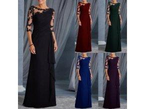 Dámske luxusné dlhé plesové spoločenské šaty s čipkou viac farieb (Farba Červená, Velikost S)