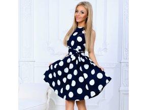 Dámské retro puntíkaté společenské šaty (Barva Růžová, Vel XXL)