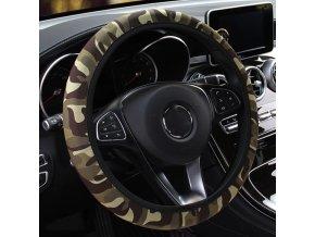 Darčeky pre mužov Potreby pre auto autá - univerzálny látkový poťah na volant s prírodnými a maskáčovým motívy - 6 variant (Farba Fialová maskáč)
