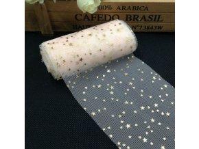 Dekorace- tylová dekorace s hvězdičkami na stůl 8cmx5m více barev- Vhodný na Vánoce nebo svatbu (Barva Světle růžová)