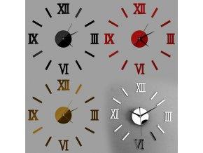 Dekorační 3D zrcadlové hodiny nalepovací na zeď (Barva: zlatá)