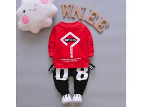 Detské oblečenia- štýlový 2 dielny červený set s traky VÝPREDAJ SKLADU (Velikost 100)