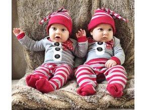Dětské oblečení- dětský set, overal a čepička Vánoční motiv- NÁPAD NA DÁREK (Vel 6m)