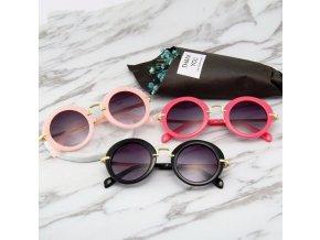 Detské slnečné okrúhle okuliare pre dievčatá- viac farieb (Farba Biela)
