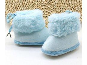 Dětské boty- dětské zimní botičky do kočárku pro nejmenší modré, růžové s kožíškem- VÝPRODEJ SKLADU (Barva Růžová, Vel S)