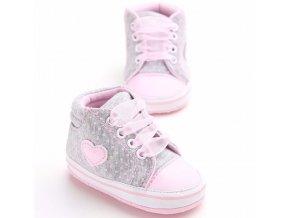 Dětské boty- dívčí capáčky pro nejmenší šedé, růžové se srdíčkem- VÝPRODEJ SKLADU (Barva Šedá, Vel S)