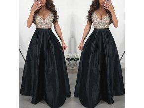 Dlouhé elegantní plesové šaty černé až 3XL NOVINKA (Vel XXL)