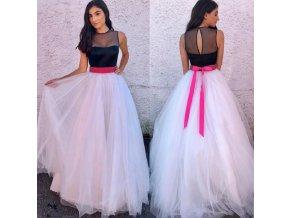 Dlouhé elegantní plesové tylové šaty s mašlí v pase NEW (Vel XL)