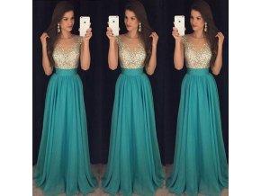 Dlouhé plesové společenské zelené šaty na svatbu (Vel XL)