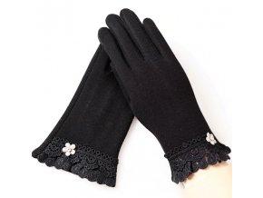 Elegantní dámské rukavice zdobené krajkou (Barva Růžová)
