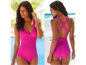 Jednodielne dámske růžové plavky až 2XL (Velikost L)