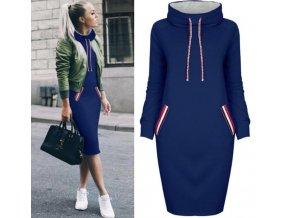 Jesenné mikinové šaty s kapucňou až 3XL Modrá (Velikost 3XL)