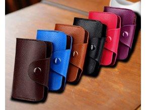 Kožené pouzdro peněženka na platební karty a peníze (Barva: tmavě růžová)