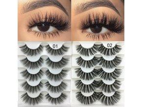 Krása make up líčenie umelé riasy predlžovanie mihalníc - 5 párov extra dlhých kvalitných umelých rias (Barva 1)