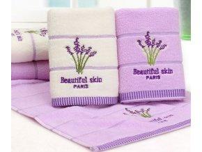 Koupelna- krásné kvalitní ručníky LEVANDULE fialový, bílý- Vhodný jako dárek k Vánocům (Barva Fialová)