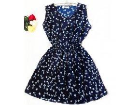 Letní šaty se vzorem kotviček modré (Velikost S)