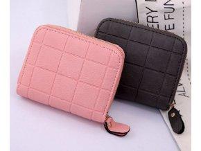 Malá dámská peněženka na zip do kabelky (Barva: růžová)