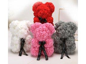 Medvedík z ruží- medvedík z ruží so stuhou 25cm- Darčeky pre ženy, Valentín (Farba Biela)