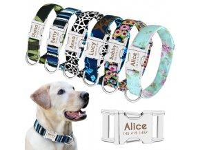 Nylonový psí obojok s menom - Obojky pre malé, stredné a veľké psy vrátane vyrytie mena a tel.čísla (Farba Farebná kvety, Velikost S)