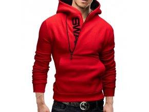 Pánská červená mikina na zip (Barva Červená, Vel XXL)
