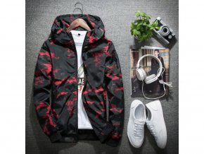 Pánská maskáčová červená šusťáková bunda (Vel XXL)