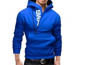 Pánská modrá mikina na zip (Barva Modrá, Vel XXL)