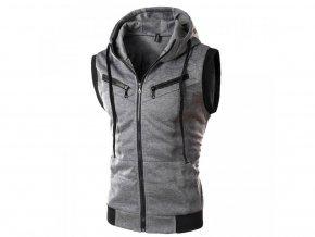 Pánská šedá vesta s kapucí (Vel XXL)