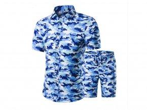 Pánská vzorovaná maskáčová souprava košile a kraťasy (Barva Květovaná, Vel XXL)