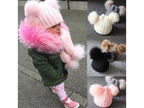 Pre deti detské zimné čiapky zimné čiapočky - štýlová detská čiapka s brmbolcami (Farba Béžová)