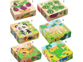 Pre deti hračky pre deti detské hračky hračky pre najmenších drevené hračky - drevené kocky s obrázkom (Barva 1)
