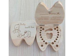 Pro děti- Dřevěná krabička na první dětské mléčné zoubky pro chlapce a dívky- VÝPRODEJ SKLADU (Varianta: 2)
