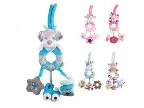 Pre deti- Plyšová hračka na zavesenie do kočíka, autosedačky, postieľky (Farba Biela)