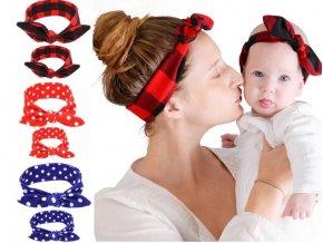 Pro ženy a dívky- set čelenky pro maminku a dceru- více barev (Varianta: 3)