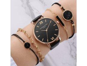 Pre ženy- Dámske štýlové hodinky set s náramky viac farieb- Darčeky pre ženy a dievčatá (Farba Béžová)