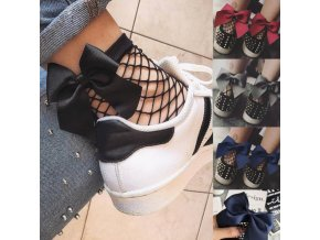 Pre ženy- sieťované členkové ponožky s mašľou viac farieb (Farba Červená)