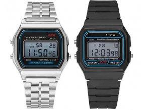 Retro digitální hodinky s budíkem alarmem datumem a stopkami - Tip na dárek k Vánocům pro muže (Barva Stříbrná)