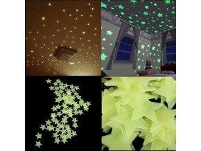 Samolepiace  svietiace hviezdičky na stenu- ZĽAVA 50% (Farba Mix)