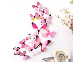 Motýlí dekorace na zeď -12ks- různé barvy - SLEVA 60% (Barva Žlutá)