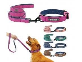 SET Psie obojok s menom a vodítko - Obojky pre malé, stredné a veľké psy vrátane vyrytie mena a tel.čísla (Farba Fialová, Velikost S)