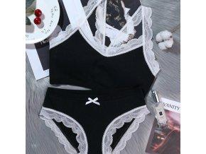 Spodná bielizeň dámska spodná bielizeň - čipkovaná podprsenka a nohavičky viac farieb (Farba Čierna)
