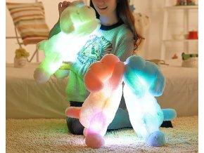 Svietiaci LED plyšový pes (Farba Biela)